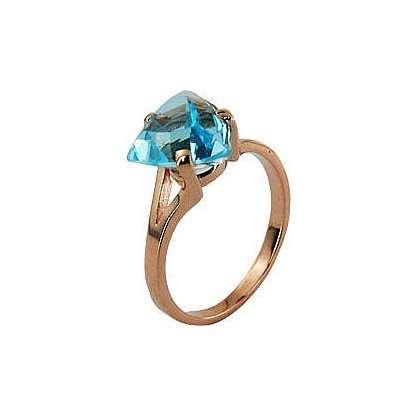 Кольцо. Голубой топаз. Арт.023Т из золота 585 пробы