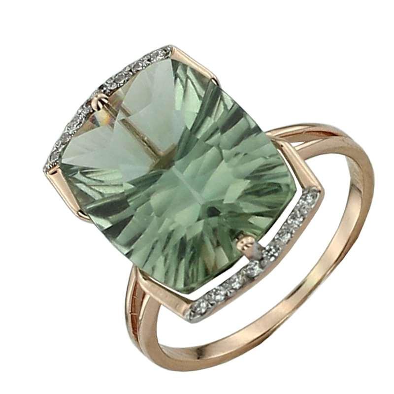 Кольцо. Аметист зеленый. Арт.025АзКц из золота 585 пробы