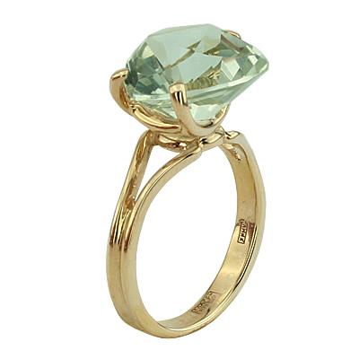 Кольцо. Аметист зеленый. Арт.051Аз из золота 585 пробы