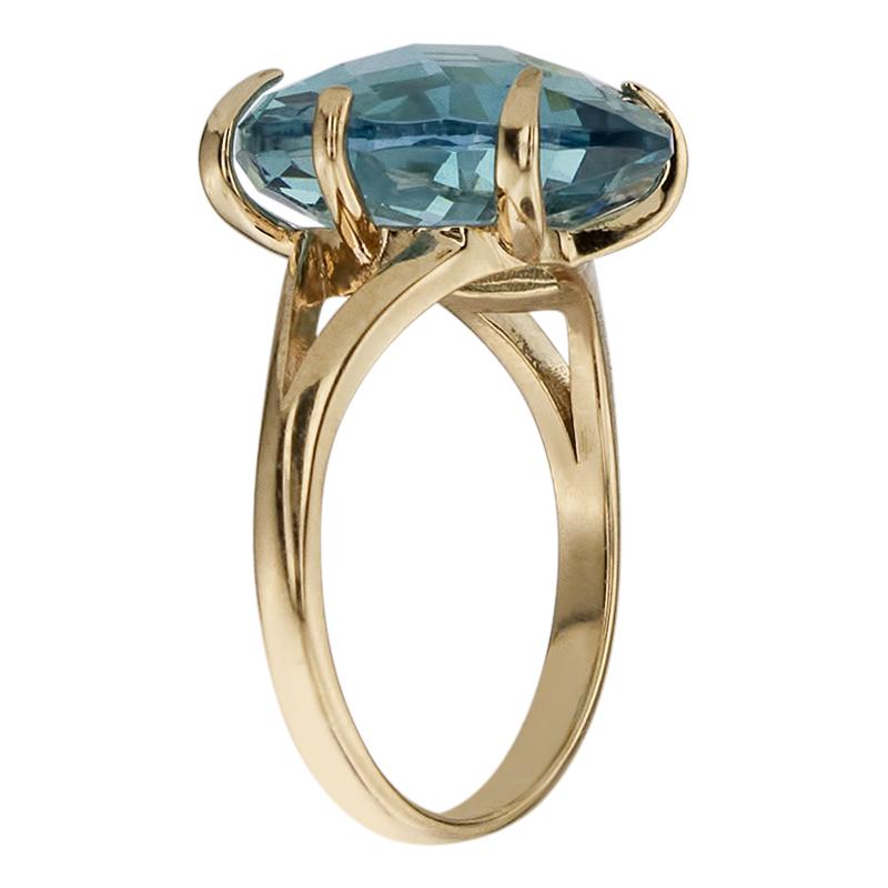 Кольцо. Голубой топаз. Арт.1015Нанот из золота 585 пробы