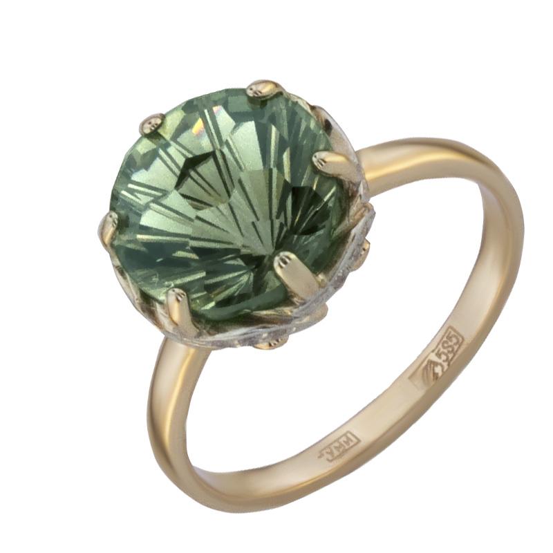Кольцо. Аметист зеленый. Арт.1038АзКц из золота 585 пробы