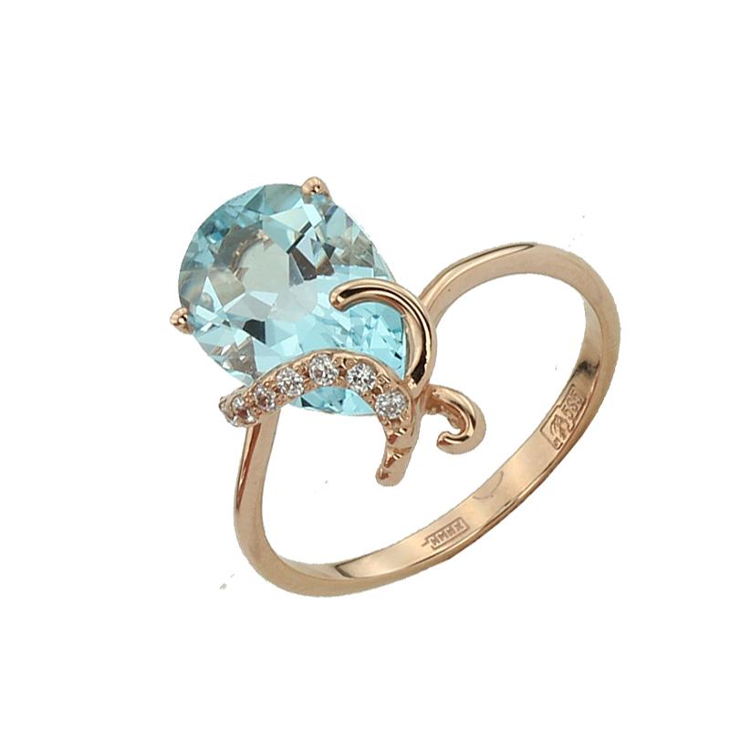 Кольцо. Голубой топаз. Арт.1068ТКц из золота 585 пробы