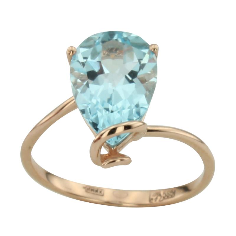 Кольцо. Голубой топаз. Арт.1070Т из золота 585 пробы
