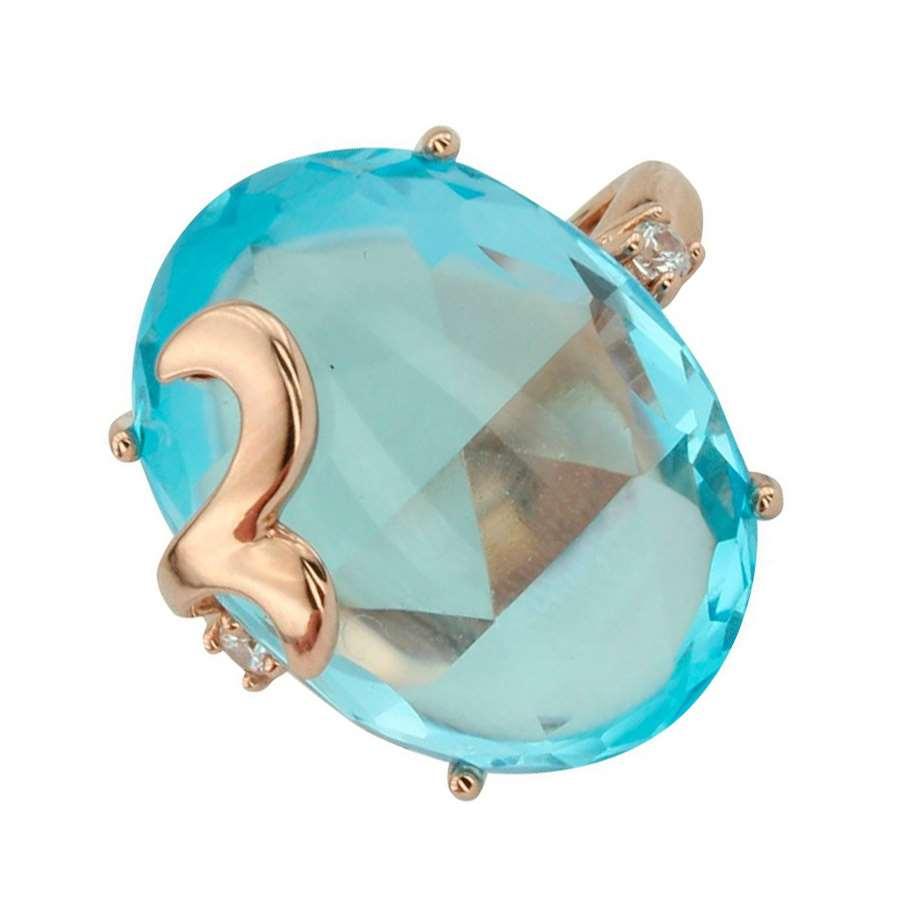 Кольцо. Голубой топаз. Арт.1072Т из золота 585 пробы