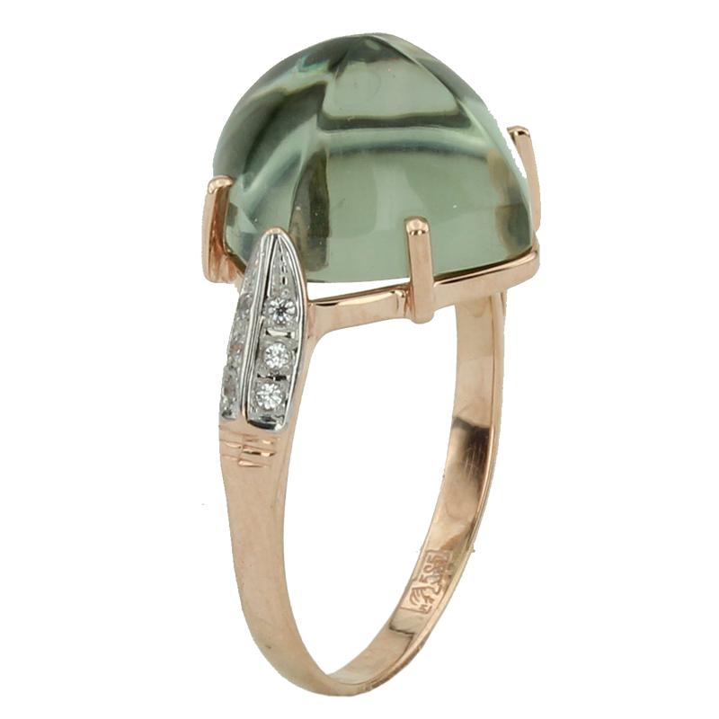 Кольцо. Аметист зеленый. Арт.1078АзКц из золота 585 пробы