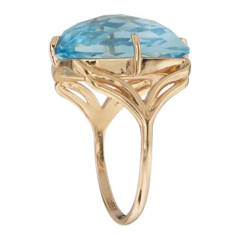 Кольцо. Голубой топаз. Арт.1128Т из золота 585 пробы