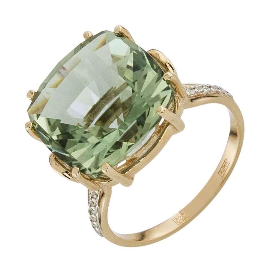 Кольцо. Аметист зеленый. Арт.118АзКц из золота 585 пробы