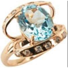 Кольцо. Голубой топаз. Арт.124ТКц из золота 585 пробы