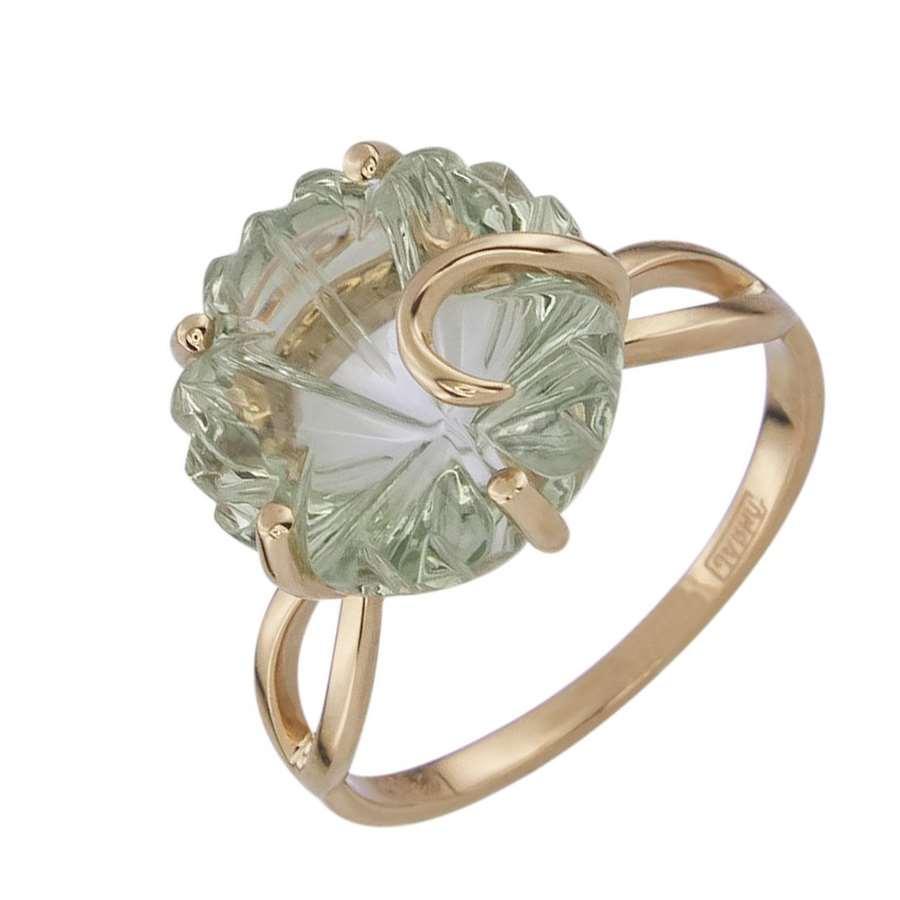 Кольцо. Аметист зеленый. Арт.1355Аз из золота 585 пробы