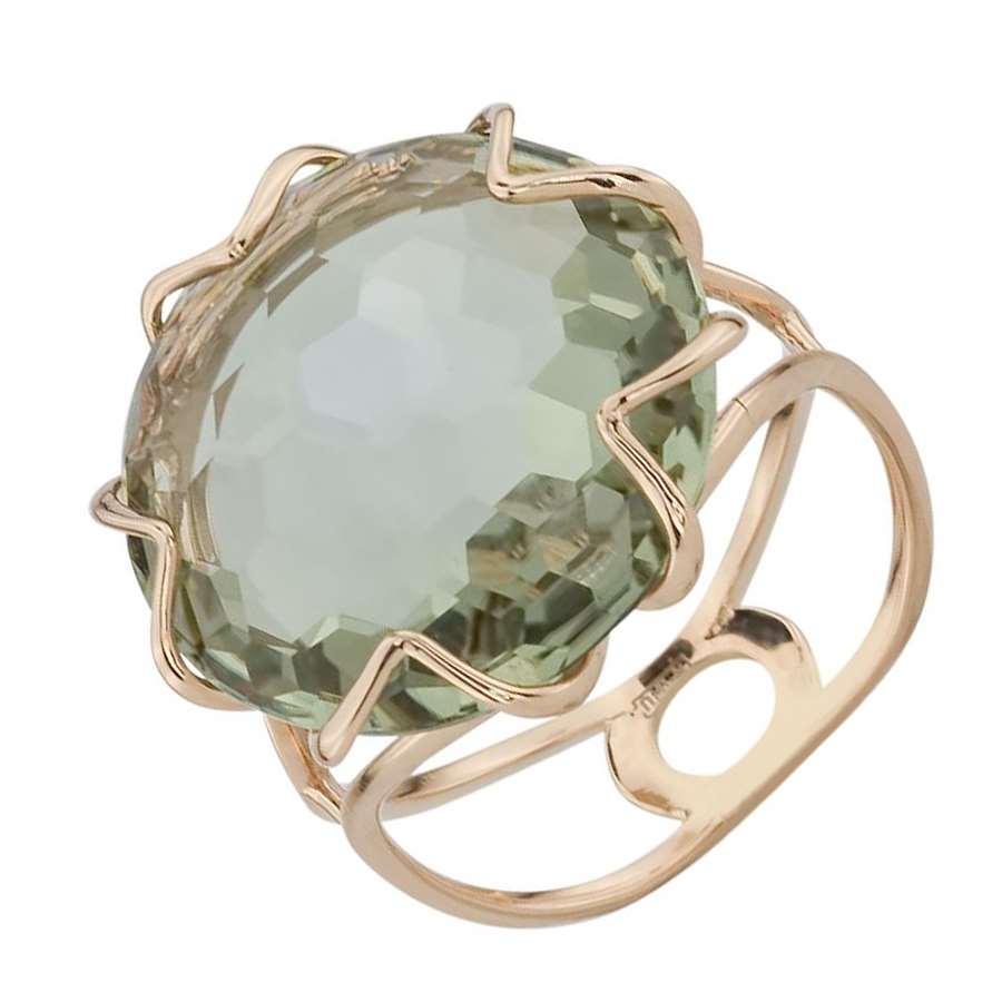 Кольцо. Аметист зеленый. Арт.1407Аз из золота 585 пробы