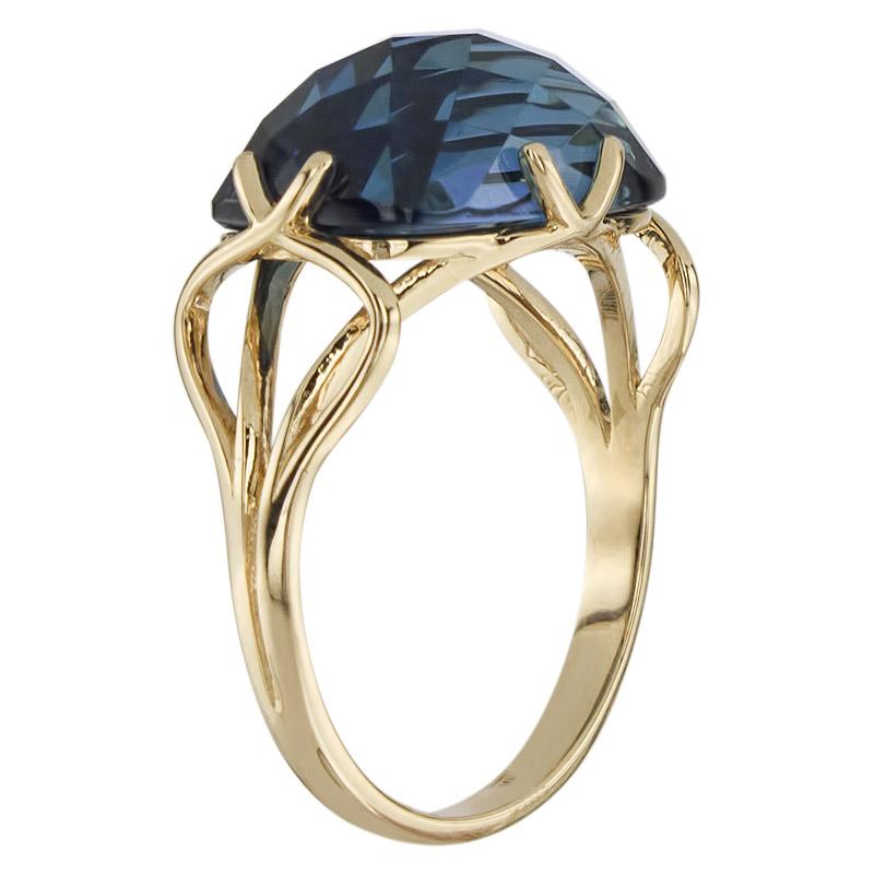 Кольцо. Голубой топаз. Арт.1464Нанот из золота 585 пробы