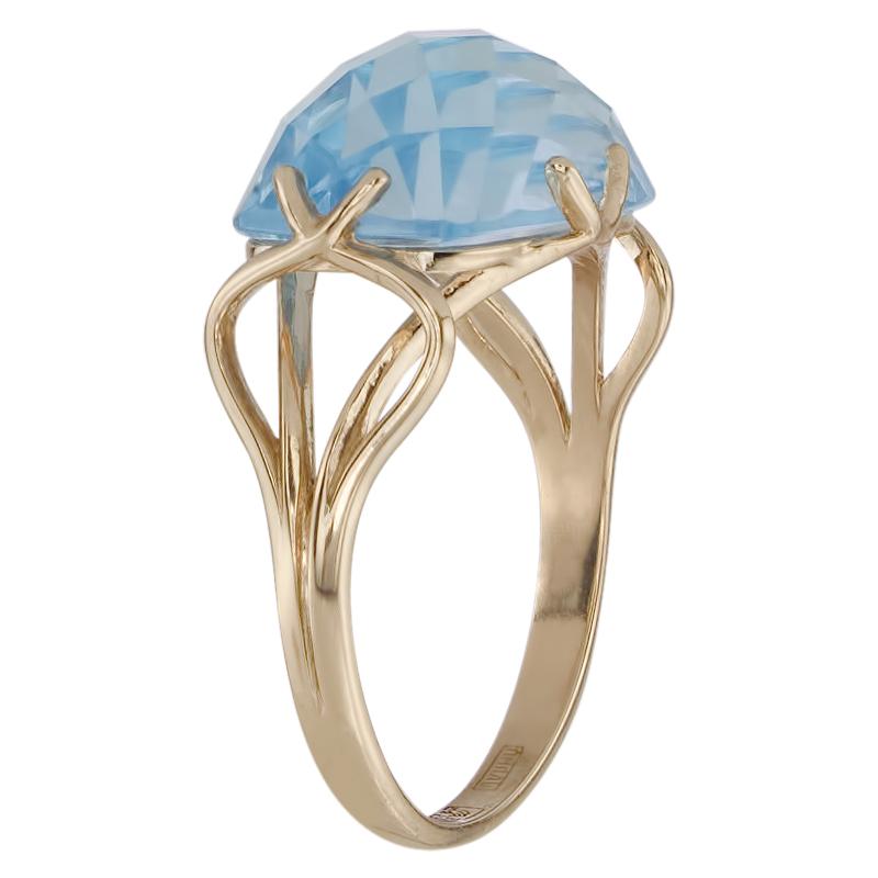Кольцо. Голубой топаз. Арт.1464Т из золота 585 пробы