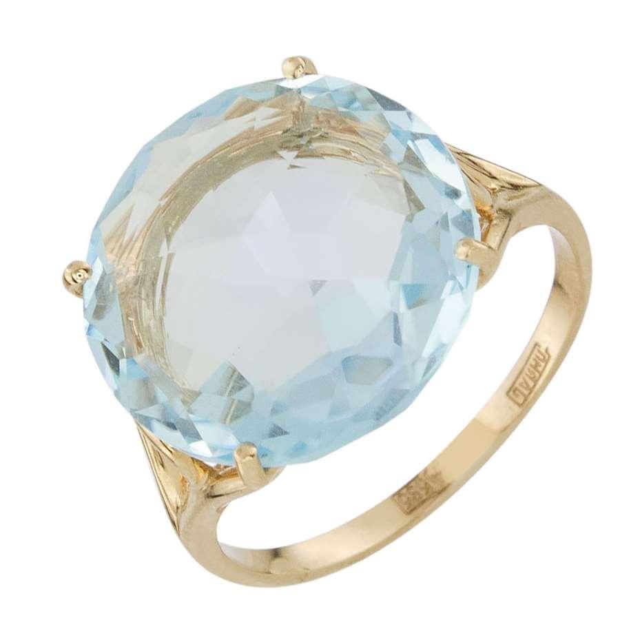 Кольцо. Голубой топаз. Арт.1471Т из золота 585 пробы