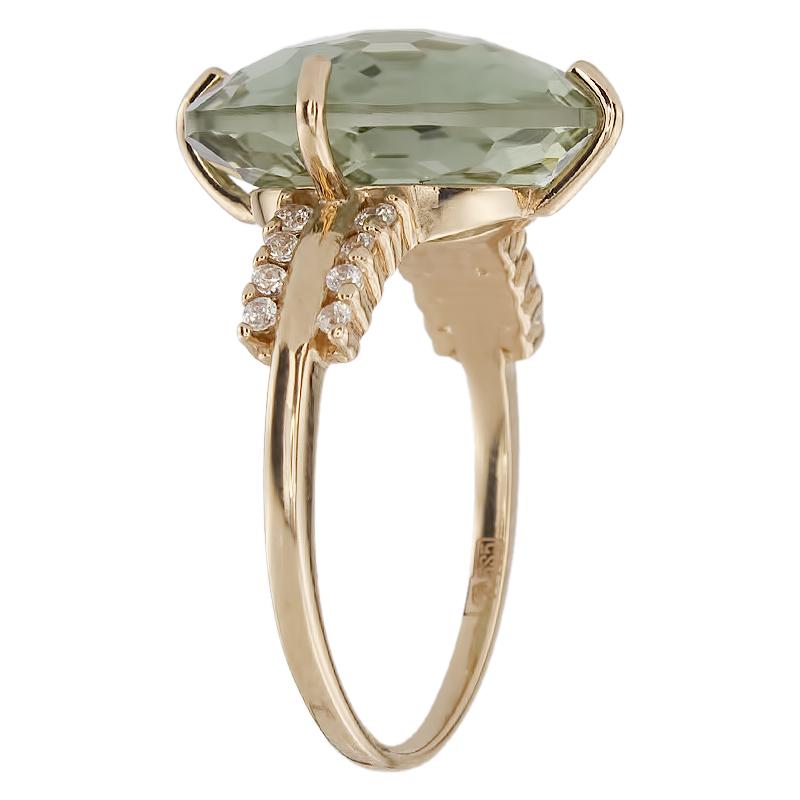 Кольцо. Аметист зеленый. Арт.1484АзКц из золота 585 пробы