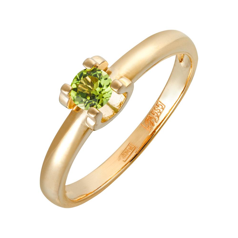 Кольцо. Хризолит. Арт.1554Х из золота 585 пробы