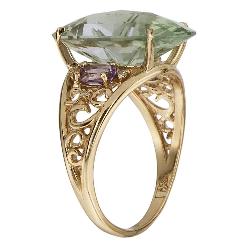 Кольцо. Аметист зеленый. Арт.1610ААзКц из золота 585 пробы