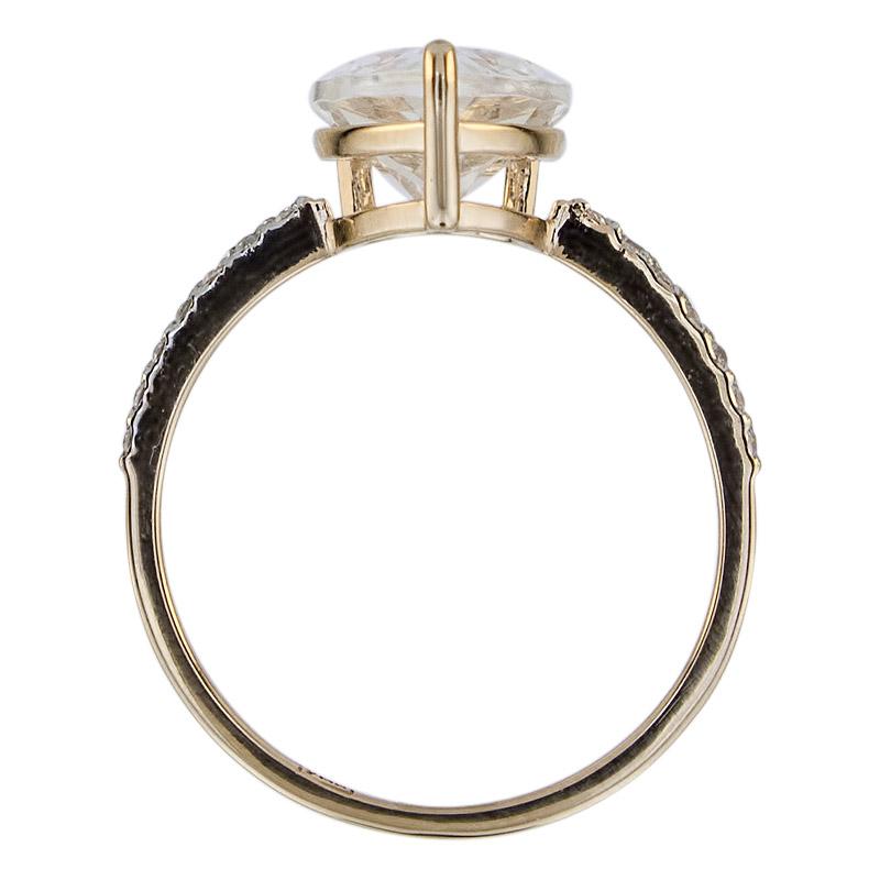 Кольцо. Горный хрусталь. Арт.1621ГхКц из золота 585 пробы