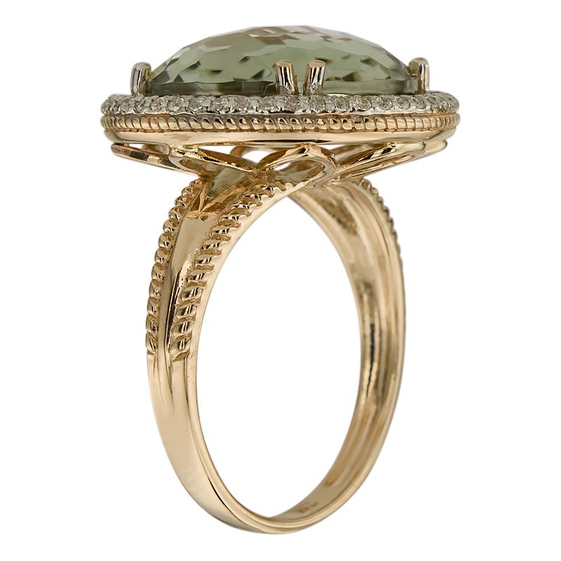 Кольцо. Аметист зеленый. Арт.1734АзКц из золота 585 пробы