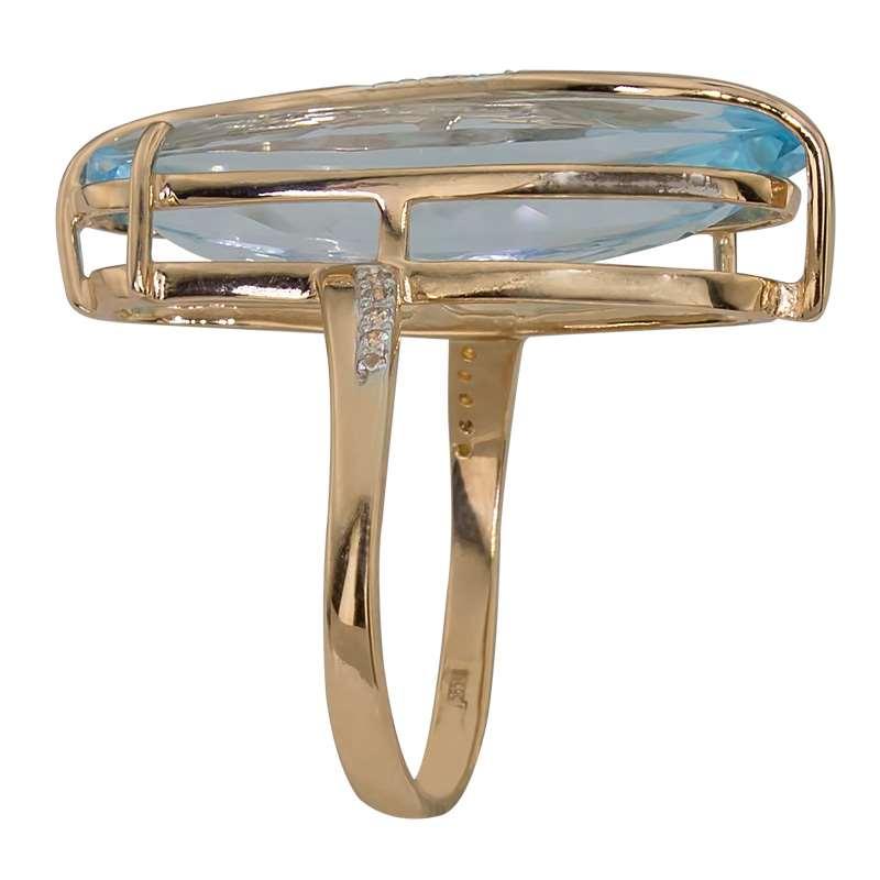 Кольцо. Голубой топаз. Арт.401ТКц из золота 585 пробы
