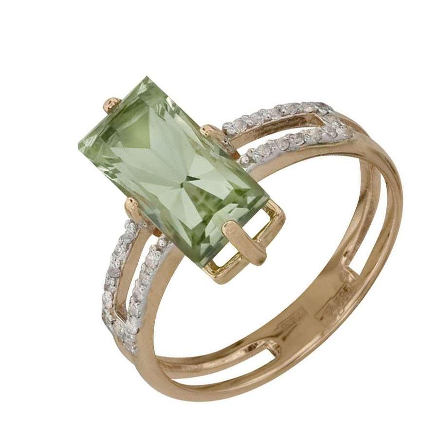 Кольцо. Аметист зеленый. Арт.518АзКц из золота 585 пробы