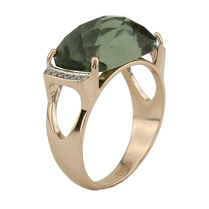 Кольцо. Аметист зеленый. Арт.989АзКц из золота 585 пробы